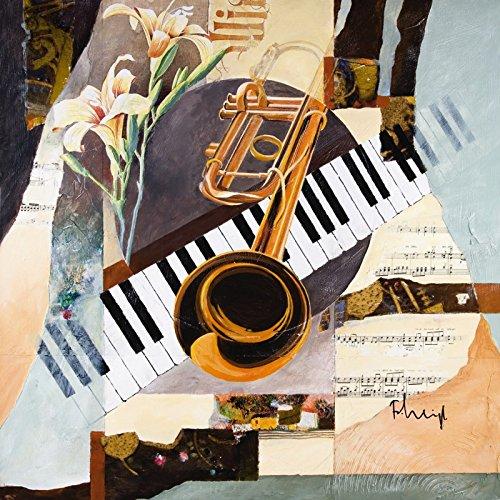 Artland-Poster-Kunstdruck-oder-Leinwand-Bild-Wandbild-fertig-aufgespannt-auf-Keilrahmen-Franz-Heigl-Trompeten-Musik-Instrumente-Collage-Orange