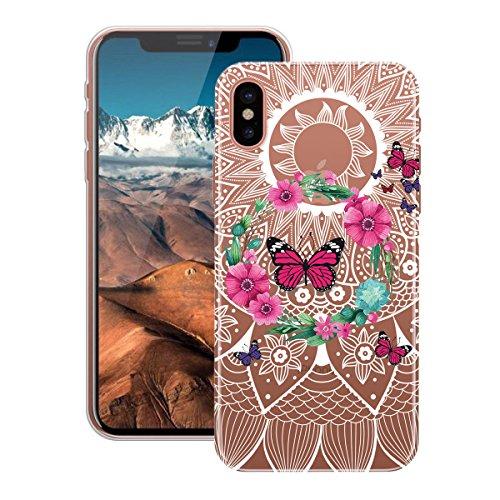 HB-Int Hülle für iPhone X Schutzhülle Transparent mit Mädchen Muster Etui Silikon Handyhülle Flexible Slim Case Cover Ultra Dünn Durchsichtige Handytasche Kranz Schmetterling
