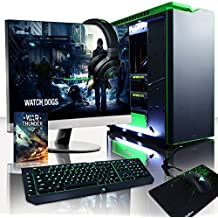 "VIBOX Legend 36 - Ordenador para gaming (27"", Intel i7-5960X, 32 GB de RAM, 3 TB de disco duro, Nvidia Geforce GTX 980 Ti SLI, Windows 10) color negro y verde - Teclado QWERTY Inglés"