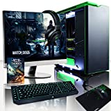 "VIBOX Legend 32 - Ordenador para gaming (27"", Intel i7-5960X, 32 GB de RAM, 3 TB de disco duro, Nvidia Geforce GTX 980 Ti SLI, Windows 10) color negro y verde - Teclado QWERTY Inglés"