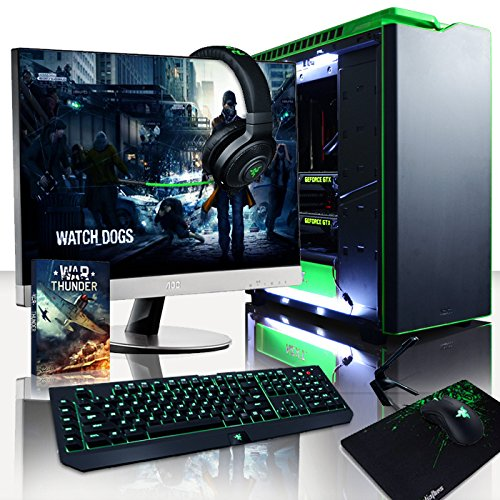 Vibox VBX-PC-5912-II Legend Paket 36 68,6 cm (27 Zoll) Gaming Desktop-PC (Intel Core i7 5960X, 32GB RAM, 3500GB HDD, NVIDIA Geforce GTX 980 Ti SLI, Win 10 Home) grün