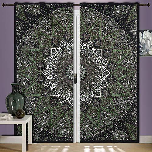 Grün Star Elefanten Mandala Tapisserie Vorhänge, Boho Vorhänge, Gardinen Panels Paar 82Länge Set of 2, Drapes, Mandala, indische Vorhänge Mandala Wandbehang Fenster Behandlung Tür Vorhang