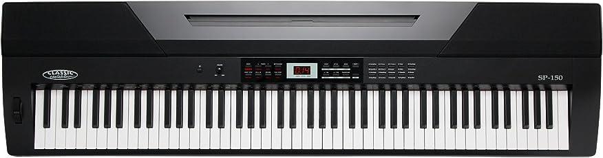 Classic Cantabile SP-150 BK Stagepiano (88 Soft-Touch Tasten, Anschlagdynamik, Polyphonie: 64, 20 Sounds, MIDI, USB, Aufnahme- & Begleitfunktion, inkl. Notenständer und Netzteil) schwarz