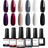 Modelones Gel Nail Polish Set - Elegant Classic Series 6 Colors in Nail Art Box, Nude Gray Black Glitter Wine Red Purple Whit