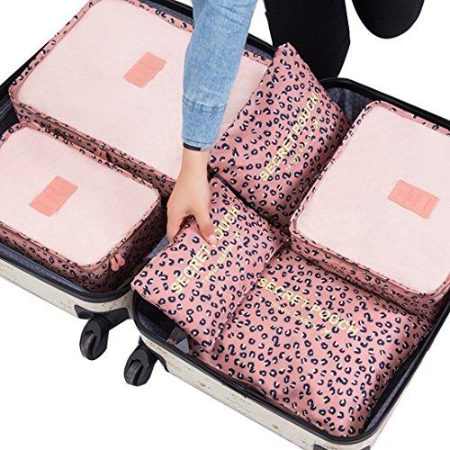 LA HAUTE – 6 organizadores para maleta de viaje leopardo rosa