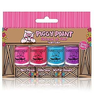 Smalto per unghie Piggy - Scatola da 4 bottiglie - Non tossico da Piggy Paint