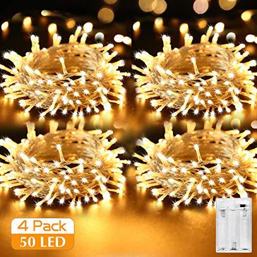 [4 Stück] LED Lichterkette Batterie, Kolpop Lichterketten für Zimmer, 5m 50er Micro LED Batteriebetrieben für Party Weihnachten Weihnachtsbaum Halloween Hochzeit Deko(Warmweiß) (Mini-licht-girlande)
