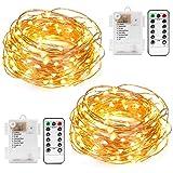 Kohree Guirlandes Lumineuses Pile LED Etanche Imperméable 10M 100 leds avec Télécommande Fil cuivre 8 Mode Elairage Blanc Chaud Lot de 2