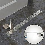 Komplett-SET - Duschrinne 70 cm AQUABAD® SDS Pro aus Edelstahl inkl. Haarsieb, Abgang waagerecht, Blende