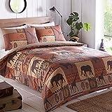 KRUGER Bettwäsche-Set mit Bettbezug und 1Kissenbezug, Safari-Design, für Einzelbett, Anthrazit, Brown, Einzelbett
