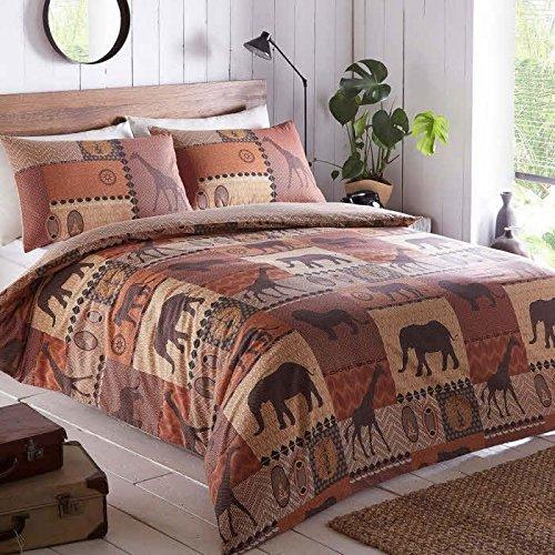 KRUGER Bettwäsche-Set mit Bettbezug und 1Kissenbezug, Safari-Design, für Einzelbett, Anthrazit, Brown, Einzelbett (Safari Bettbezug-set)