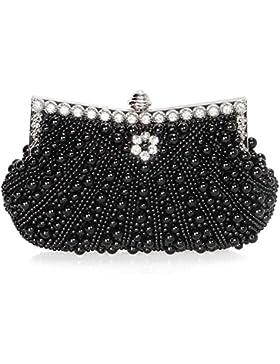 Baglamor Damen Perlen Perle Strass Abend Clutch Fashion Geldbörse mit Kette