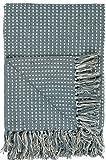 IB Laursen Plaid Stickoptik Blau Decke Tagesdecke Überwurf Kuscheldecke Tischdecke Allrounddecke Sofadecke