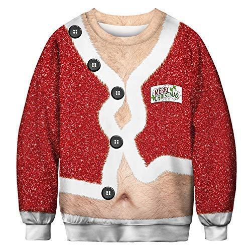 ZM Weihnachtskleidung, Cosplay Funny Fashion Cute Kostüm, Christmas 3D gedruckt Round Neck Kostüm,XXL