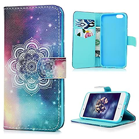 iPhone 6 Leather Case,Kasos iPhone 6S Leather Case Tribal Totem Series Elegant Little Coloured Flower Leather Matte Case With Soft Inner TPU Ultra Slim Protective Skin KickStand Flip Wallet Cover With Card Slots for iPhone