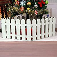 IEVE 4 pcs White Plastic Fence Christmas Xmas Tree Wedding Party Decoration Miniature Home Garden Border Grass Lawn Edge Fence (One pack is 200cm in total)
