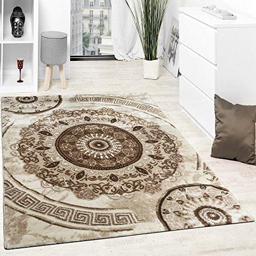 Paco Home Alfombra De Diseño con Hilo Brillante Motivos Clásicos Beige Marron Crema, Grösse:80x150 cm