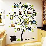 S.Twl.E Kreative Bilderrahmen Wand Foto Baum 3D Kristall Acryl Feste Wandhalterung Schlafzimmer Wohnzimmer Sofa Hintergrund dekoriert mit Plakaten, Black Sticks + Licht Grün,