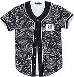 Pizoff Männer-T-Shirt mit Knopf Rundhalsausschnitt Kurze Ärmel Stil Hip-Hop Baseball Praxis Shirt Lässig Tops Floral Paisley Bandana Muster Y1724-31-XL