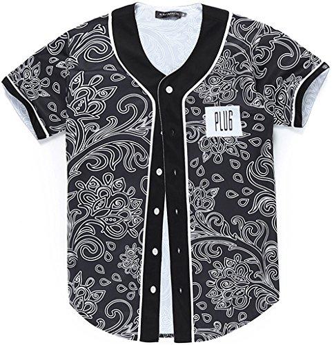 Pizoff Männer-T-Shirt mit Knopf rundhalsausschnitt kurze Ärmel Stil Hip-Hop Baseball Praxis Shirt lässig Tops floral paisley bandana muster Y1724-31-S (Ärmel Knopf Ein Kurze)