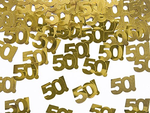 reudeko Weihnachten Silvester Hochzeit (15g gold Zahl 50) (Gold Hochzeit Tisch Zahlen)