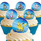 Toppershack Lot de 12 mini-disques assortis Pokémon Comestibles PRÉ-DÉCOUPÉS