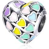 """LaMenars """"I Love You (te Quiero Mucho) Amor Corazón Charm con Plata de Ley 925 Compatible con Pulseras y Pulseras Europeas"""