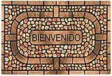 MIGOU BCN Felpudos Originales y Divertidos - Regalos Originales para la Casa Felpudos Entrada casa Originales Alfombra Exterior Interior Goma PVC (Piedras/Marron)