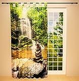 Clever-Kauf-24 Schlaufenschal Vorhang Gardine Wasserfall im Wald BxH 145 x 245 cm | Sichtschutz | Lichtdurchlässiger Schlaufenvorhang mit Druckmotiv