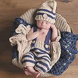 Recién Nacido Bebé Equipo Infantil Gnchillo de Punto Tapa Disfraz Fotografía Proposición Bebé Recién Nacido Fotografía Apoya Infantil de Punto de Ganchillo Azul Rayadas (Beige + azul)