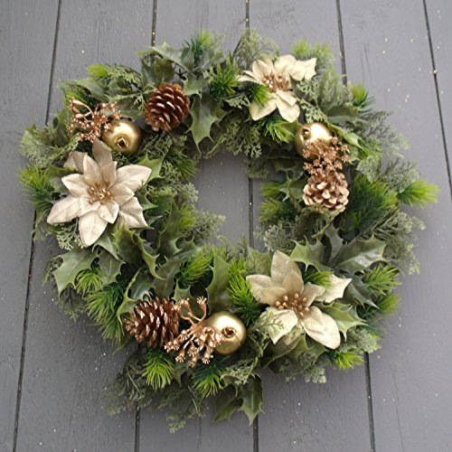 floristikvergleich.de 16 inch Artificial Gold Poinsettia / Holly Christmas Wreath for indoors and outdoors by A1-Homes