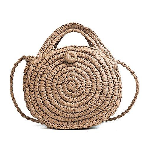 Pawaca Bolso de hombro redondo de paja para mujer - Bolso de tela, bolsos de playa de verano, bolso con cremallera, marrón, 8,7 × 2,2 pulgadas