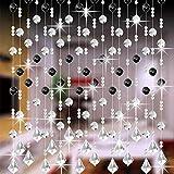 Moginp Vorhang,Vorhänge Kristall Glas Perlen Curtain Gardinen Luxus Wohnzimmer Schlafzimmer Fenster Tür Hochzeit Dekor (C)