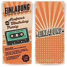 Einladungskarten Zum Geburtstag (40 Stück) Als Retro Karte Konzertkarten  Vintage Konzert Disko Kassette