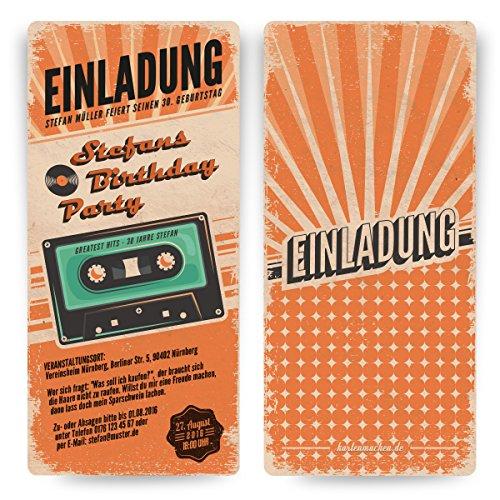 Einladungskarten zum Geburtstag (50 Stück) als Retro Karte Konzertkarten Vintage Konzert Disko Kassette