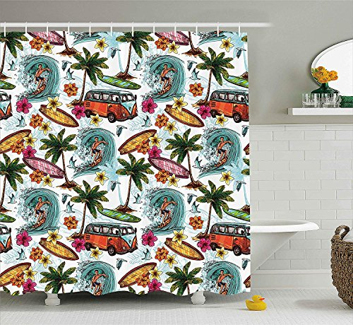 urtain, Hawaiian Decor Surfer on Wavy Deep Sea Retro Palms Flowers Surfing Boards Print, Fabric Bathroom Decor Set with Hooks, 60x72 inches, White Teal ()