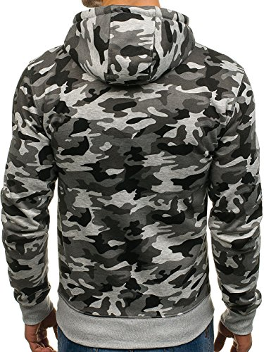 BOLF Herren Pullover mit Kapuze Sweatshirt Langarmshirt Sweatjacke Militär Army Camo Muster 1A1 Grau_DD129-1