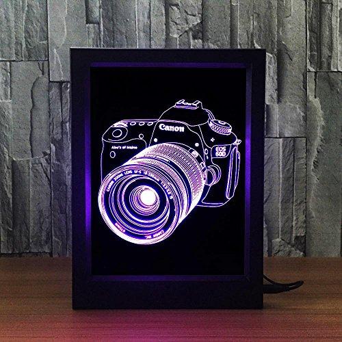 ZY&ZQ Nachtlicht 3D Illusion Lampe Kamera Mode kreativ Lampe Nachttischlampe führte kleine Nacht Lampe dekorative Atmosphäre Lampe Acryl Foto F Rame-Lampe