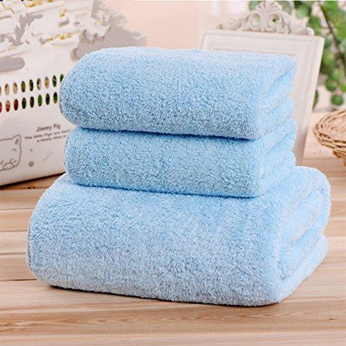 DANCICI (1 Handtücher + 2 Handtuch) Coral Microfaser erwachsene Männer und Frauen Badetuch Soft starken Sog Wasser Handtücher, Blau