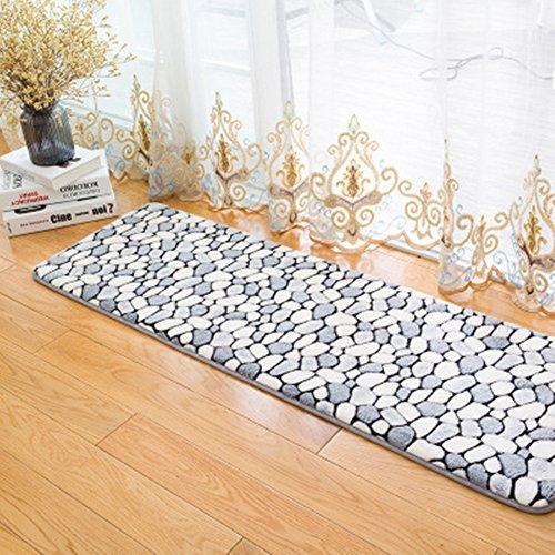Morbuy Hochflor Korallen Samt Shaggy Schmutzfangmatte Teppich Anti-Rutsch-Bequeme Badematte Badezimmer-Teppich Super saugfähiger weicher Duschteppich-Indoor/Outdoor geeignet (50x80cm, Rauchgrau)