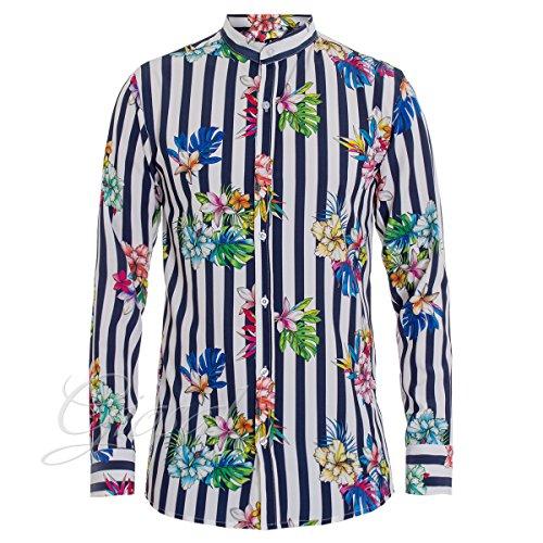 Giosal camicia uomo collo coreano righe blu bianca fiori floreale fantasia c1345a-xl