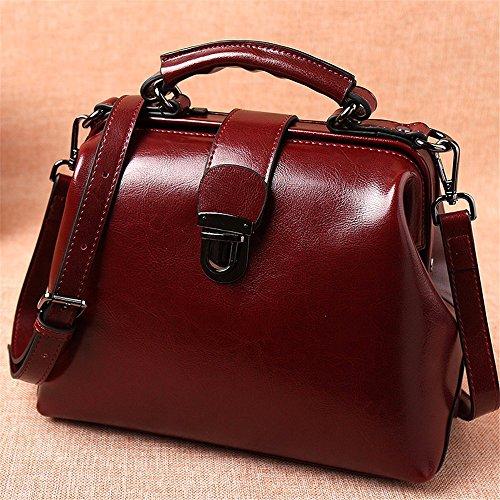 Olio cuoio cera Vintage messenger bag ladies Borsetta donna borsa borse per donne,verde Rosso