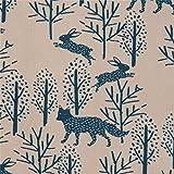 Braungrauer Cord mit Füchsen Hasen Bäumen