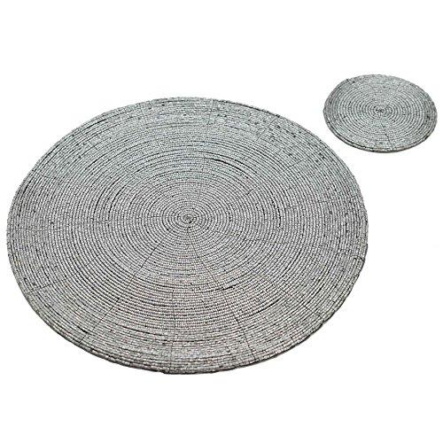 Sets de table et dessous de verres ronds - ornés de perles - doré - Lot de 6