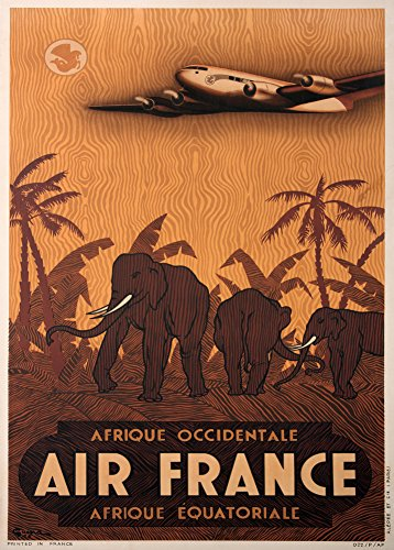vintage-travel-africa-with-air-france-c1948-250gsm-gloss-art-card-a3-reproduction-poster