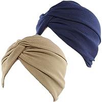 BEIFON 2 Pezzi Turbante Donna Berretto di Cotone Morbidi Tappi Copricapo Chemio Turbanti Cuffia Cappello Elastico…