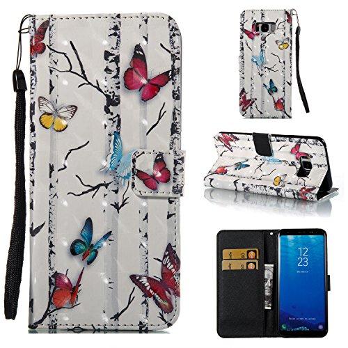 Ecoway Para Samsung galaxy S8 Plus Funda, (Mariposas)Pintado en relieve árbol Cuero de la PU Leather Cubierta , Función de Soporte Billetera con Tapa para Tarjetas Soporte para Teléfono