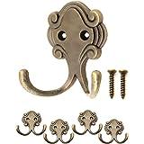 FUXXER® - Antieke dubbele haken, garderobehaken, handdoekhaken, kledinghaken, ijzeren haken in messing brons design, vintage