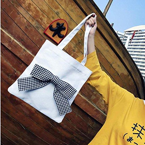 Longra Sacchetto di spalla semplice casuale semplice delle signore del sacchetto della decorazione della farfalla delle donne Bianca