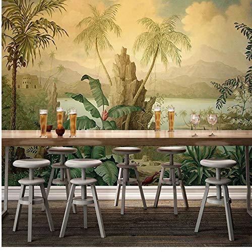 VVNASD 3D Wand Aufkleber Wandbilder Tapete Dekorationen Art European Style Retro Landschafts Tropischer Regen Bananen Kokosnuss Baum Kunst Kinder Küche (W) 300X(H) 210Cm - Afrikanische Kokosnuss